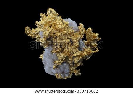 Gold specimen from Alta Floresta, Brazil.,  - stock photo