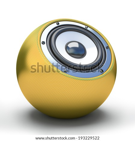 Gold spher speaker 3D - stock photo