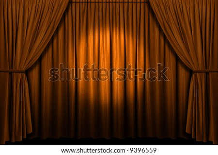 Gold stage curtain with spotlight - stock photo