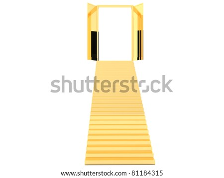 Gold staircase with open doors - stock photo