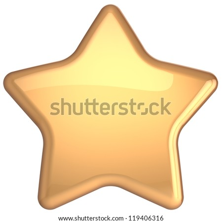 Gold star golden decoration. Prestige congratulation win very important ranking top quality excellent service luxury favorite best icon concept. Detailed 3d rendering. Isolated on white background - stock photo