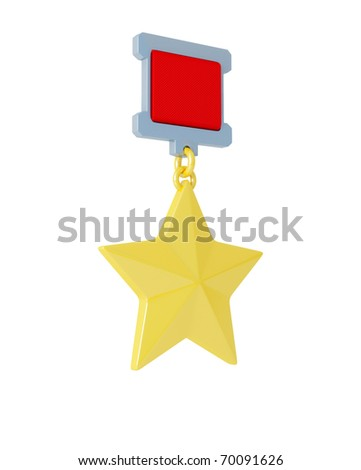 Gold star medal isolated on white background - stock photo