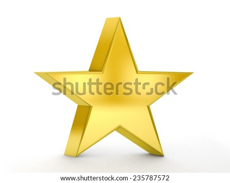 Gold star on a white background.