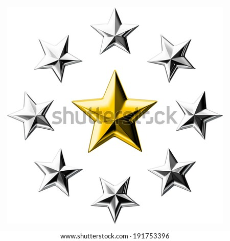 Gold star surrounded by silver stars isolated on white background. - stock photo