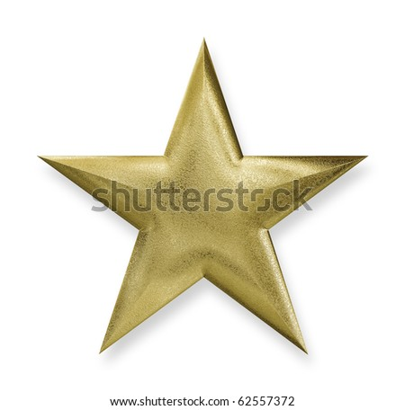 Gold Star with a clipping path, texture map 3d-rendered - stock photo