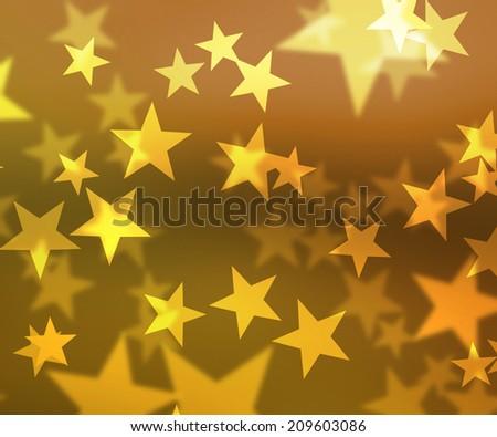 Gold Stars Bokeh Background - stock photo