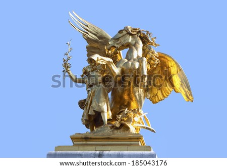 Gold statues of Alexander III bridge - wing horse with amazone. France, Paris.   - stock photo