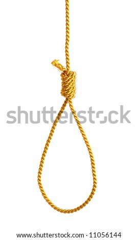 Gold string, gallows, cord for convict - stock photo