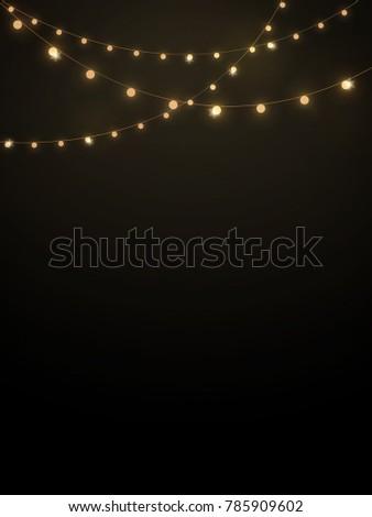 Gold String Lights In Black Background For Decoration