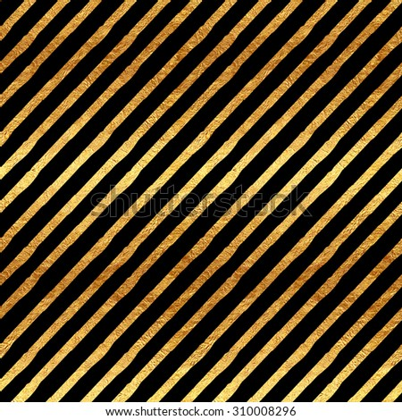 Gold Stripes Faux Foil Metallic Black Background Striped Pattern Texture - stock photo