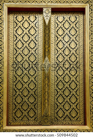 Gold stripes Thai arts on church door at public temple. Traditional Thai style painting pattern & Thai Door Stock Images Royalty-Free Images \u0026 Vectors | Shutterstock Pezcame.Com