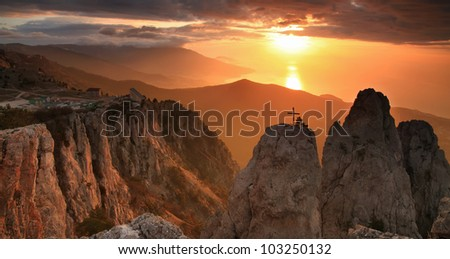 Gold sunrise in the mountains - stock photo