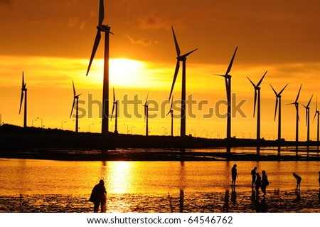 gold sunset at the beach - stock photo