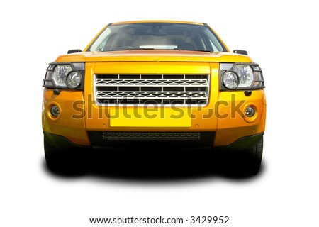 gold suv - stock photo