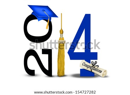 gold tassel with blue graduation cap on white background for class of 2014 - stock photo