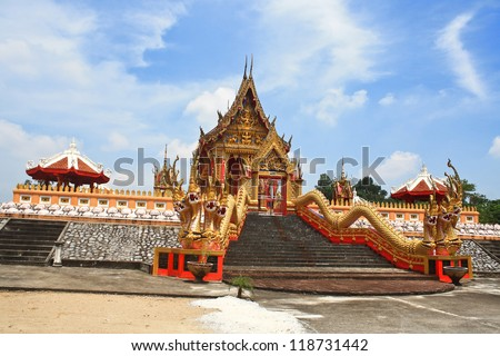 Gold temple in Thailand. It is very important to people./Gold temple. - stock photo