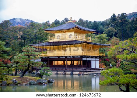 gold temple japan - stock photo
