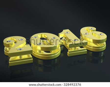 Gold 2016 text on a black background. - stock photo