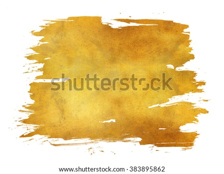 gold texture paint in white background - stock photo