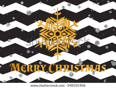 Gold textured snowflake and inscription Merry Christmas on modern black background with silver confetti. Design element for festive banner, card, invitation, postcard. Raster copy of vector file. - stock photo