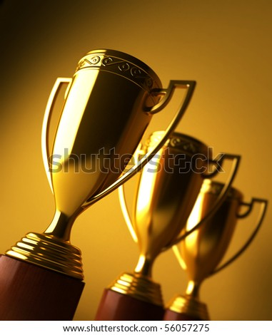 Gold trophy - stock photo