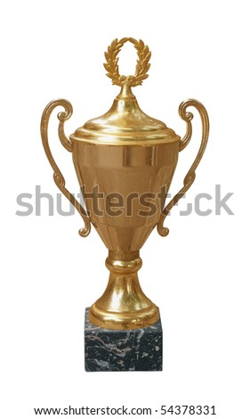 Gold trophy cup isolated on white - stock photo