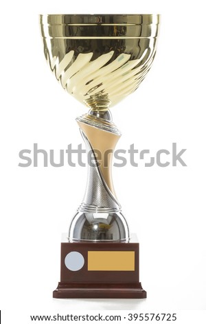 Gold Trophy Isolated On Black Background