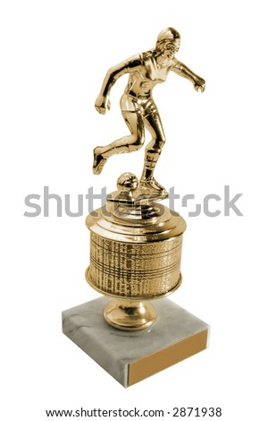 gold trophy - isolated on white - stock photo