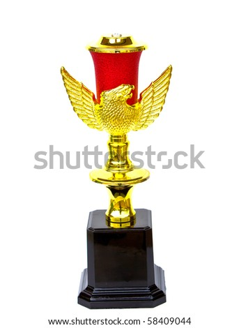 Gold Trophy isolated on white background - stock photo