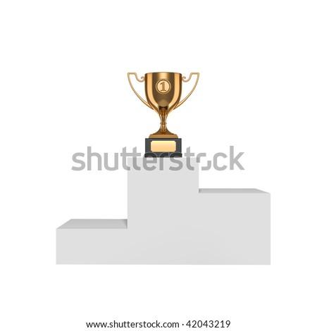 Gold trophy on pedestal - stock photo