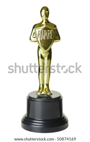 gold trophy on white background with path. - stock photo
