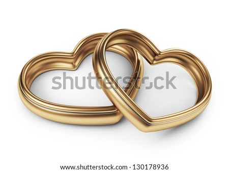 Gold two love ring. 3D Isolated on white background - stock photo