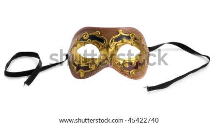 Gold Venetian Mask. Isolated over white background