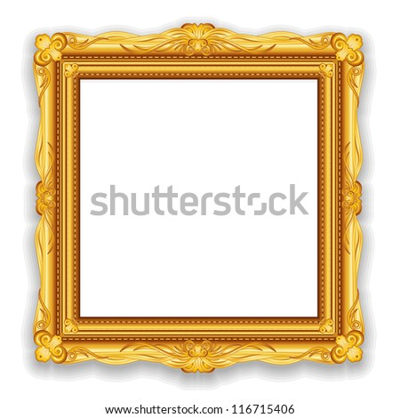 Gold Vintage Frame. Decorative Frame with Place for Text, Picture or Design - stock photo