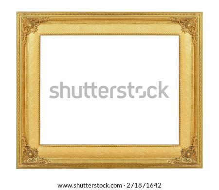 Gold vintage frame luxury isolated white background. - stock photo