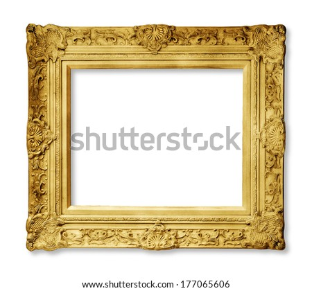 Gold vintage frame with shadow isolated - stock photo