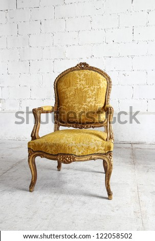 Gold vintage luxury armchair with clipping path - stock photo
