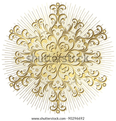 Gold vintage snowflake with rays on white background - stock photo