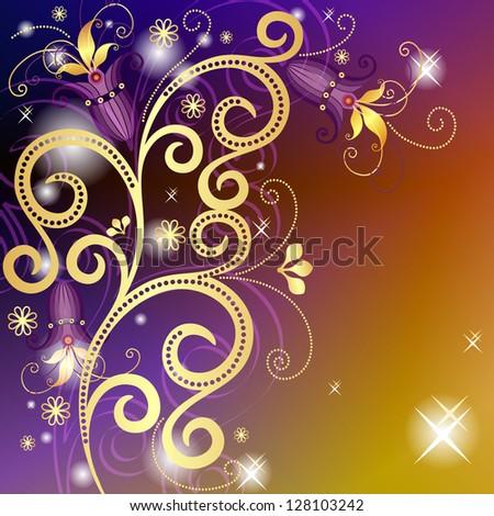 Gold-violet-orange floral vintage frame with translucent gold flowers and stars - stock photo
