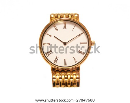 gold watch on a white background
