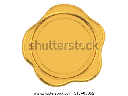 Gold wax seal - stock photo