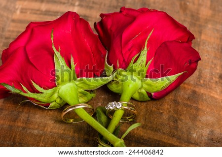Gold wedding bands attached to red roses - stock photo