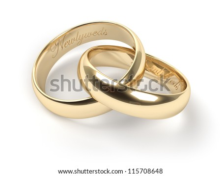 Gold Wedding Rings Engraved Text Newlyweds Stock Illustration
