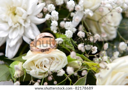 Gold wedding rings on colors - stock photo