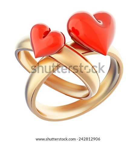 Gold wedding rings with glossy red hearts isolated on white - stock photo