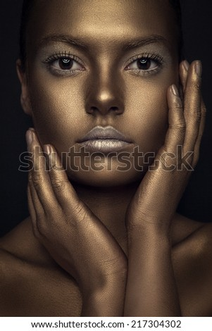 Gold woman beauty portrait, fashion