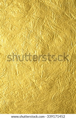 Gold wrinkle paper texture background - stock photo