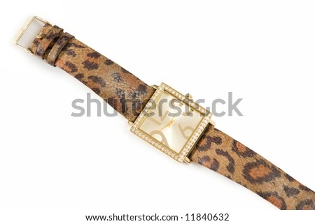 gold wrist-watch on a white background - stock photo
