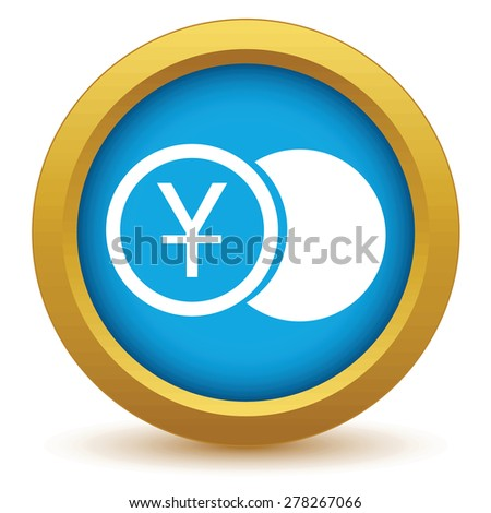 Gold yen coin icon on a white background