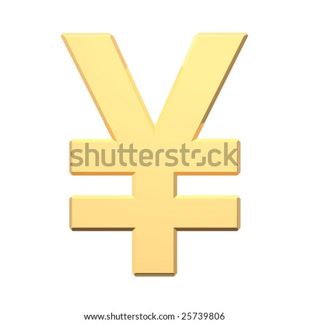 Gold Yen sign isolated on white. Computer generated 3D photo rendering. - stock photo
